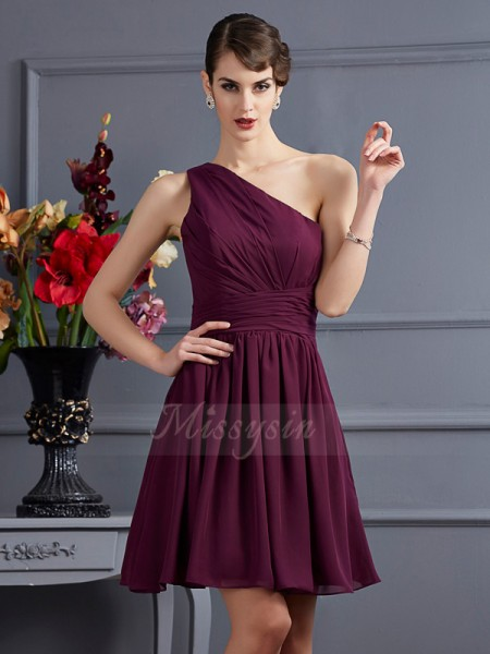 A-Line/Princess One-Shoulder Sleeveless Chiffon Short/Mini Pleats Bridesmaid Dress