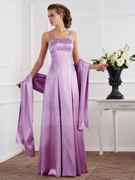 A-Line/Princess Spaghetti Straps Sleeveless Elastic Woven Satin Floor-Length Beading Dress