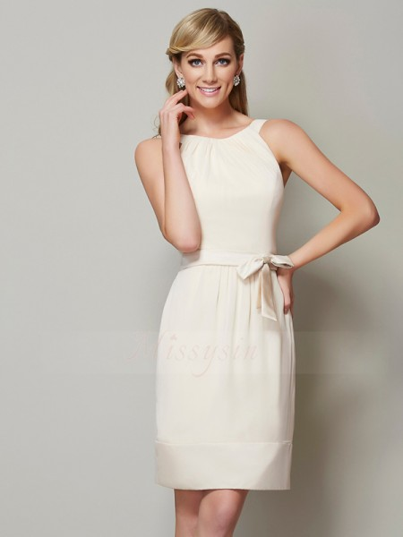 Sheath/Column Scoop Sleeveless Chiffon Knee-Length Bridesmaid Dress