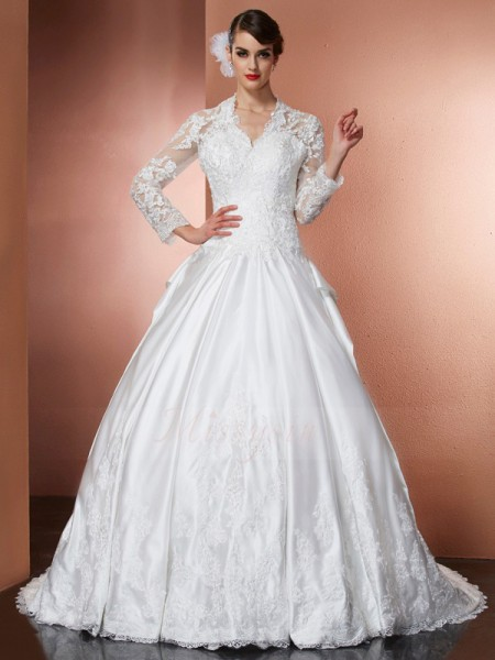 A-Line/Princess V-neck Long Sleeves Satin Cathedral Train Applique Wedding Dress
