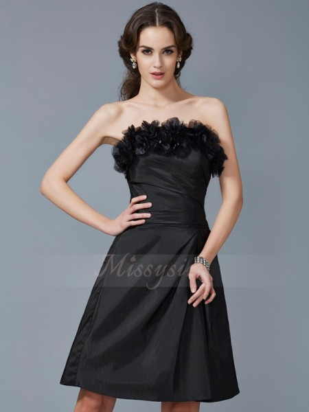Sheath/Column Strapless Sleeveless Taffeta Knee-Length Hand-Made Flower Dress