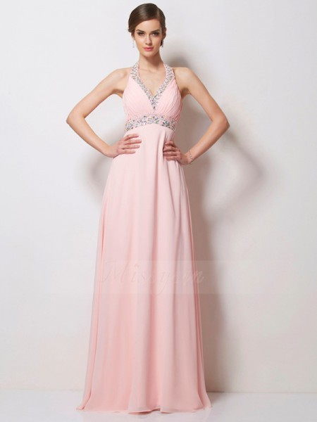 A-Line/Princess Chiffon Halter Sleeveless Floor-Length Beading Dress