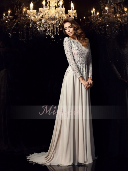 A-Line/Princess Scoop Chiffon Court Train Beading Long Sleeves Dress