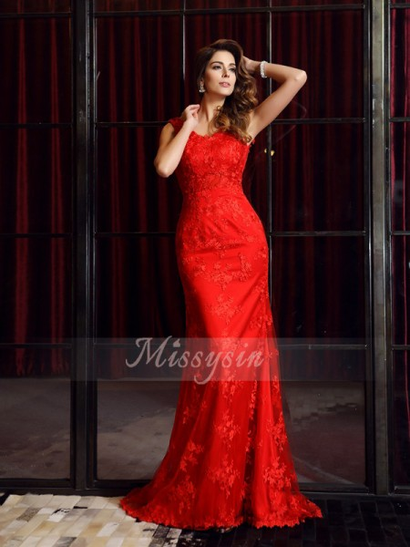 Trumpet/Mermaid V-neck Lace Sweep/Brush Train Applique Sleeveless Dress