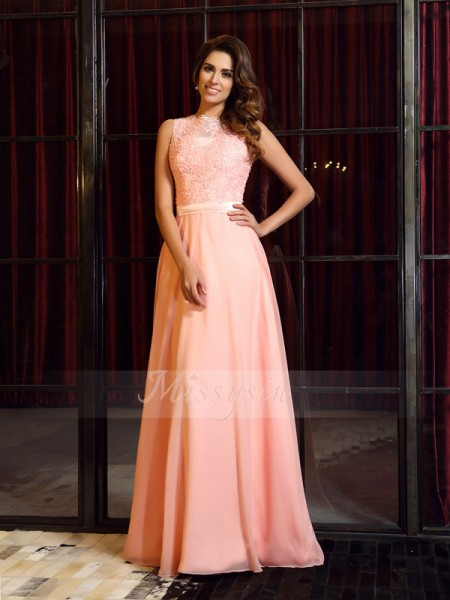 A-Line/Princess High Neck Chiffon Sweep/Brush Train Applique Sleeveless Dress