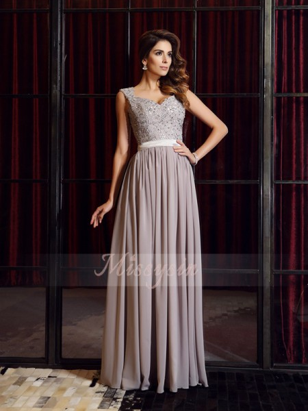 A-Line/Princess Straps Chiffon Floor-Length Applique Sleeveless Dress