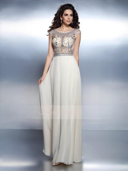 A-Line/Princess Bateau Chiffon Floor-Length Beading Short Sleeves Dress