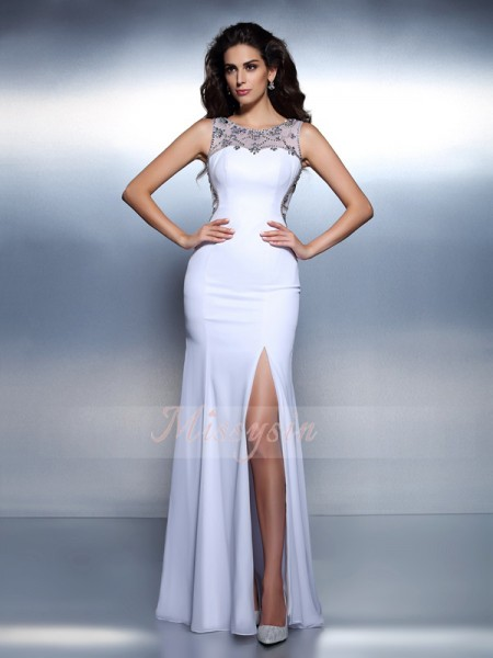 Trumpet/Mermaid Bateau Chiffon Floor-Length Beading Sleeveless Dress