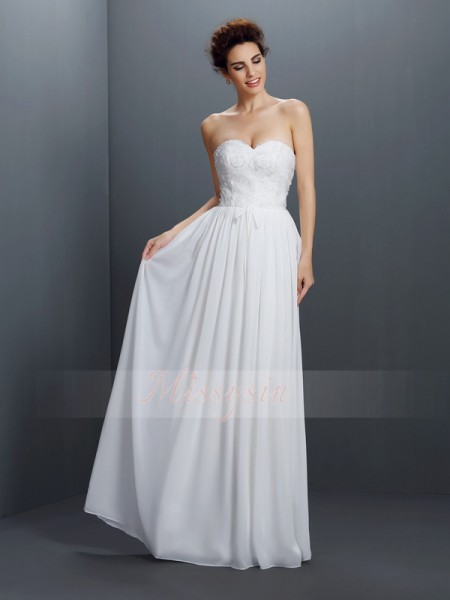 A-Line/Princess Sweetheart Chiffon Floor-Length Lace Sleeveless Dress
