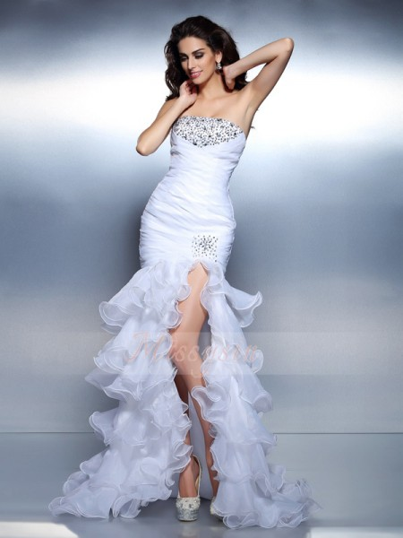 Trumpet/Mermaid Strapless Organza Floor-Length Beading,Ruched Sleeveless Dress