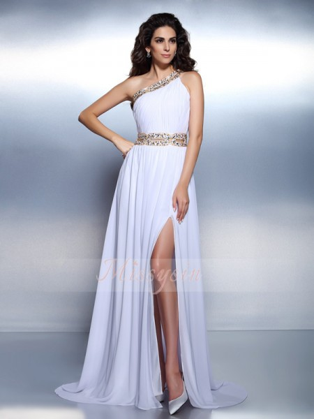 A-Line/Princess One-Shoulder Chiffon Floor-Length Beading Sleeveless Dress