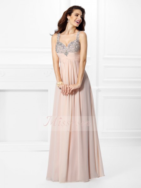 A-Line/Princess Straps Chiffon Floor-Length Beading Sleeveless Dress