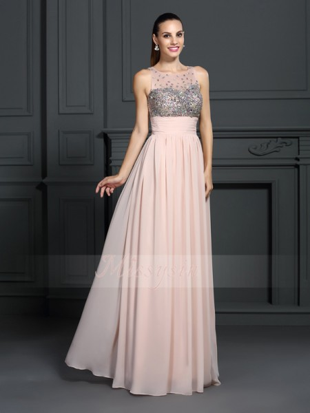 A-Line/Princess Bateau Chiffon Floor-Length Beading Sleeveless Dress