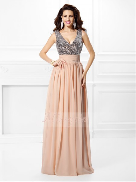 A-Line/Princess V-neck Chiffon Floor-Length Paillette Sleeveless Dress