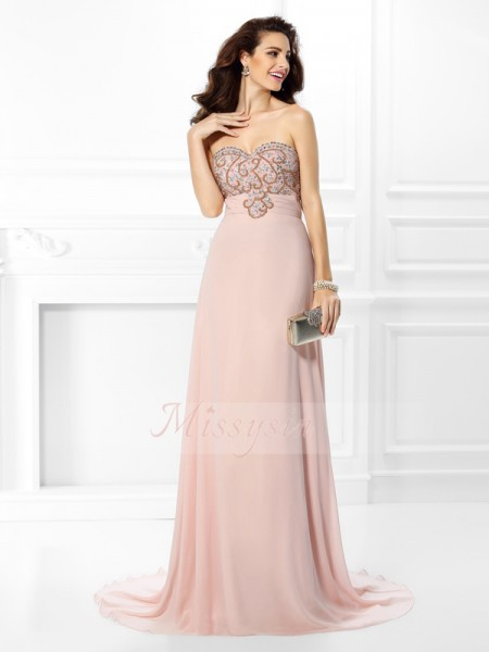 A-Line/Princess Sweetheart Chiffon Sweep/Brush Train Beading Sleeveless Dress