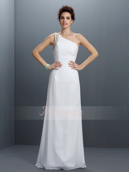 Sheath/Column One-Shoulder Chiffon Floor-Length Beading Sleeveless Dress