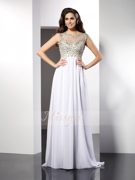 A-Line/Princess Bateau Chiffon Floor-Length Ruffles Sleeveless Dress