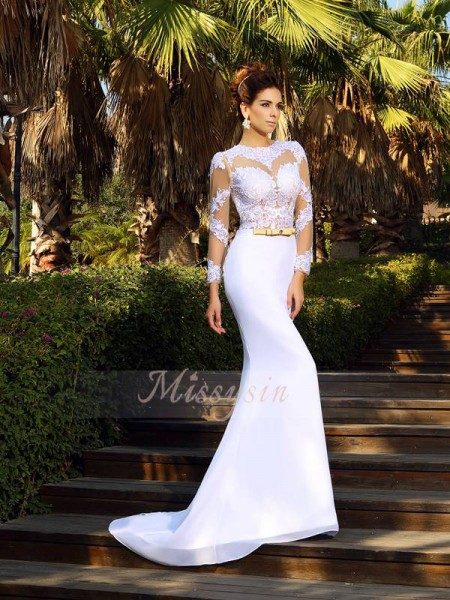 Sheath/Column Scoop Satin Court Train Applique Long Sleeves Wedding Dress