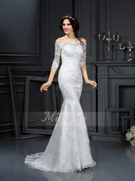 Sheath/Column Off-the-Shoulder Lace Sweep/Brush Train Lace 1/2 Sleeves Wedding Dress