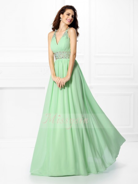A-Line/Princess V-neck,Straps Chiffon Floor-Length Beading Sleeveless Dress