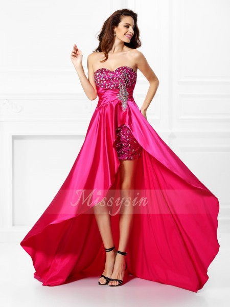 A-Line/Princess Sweetheart Elastic Woven Satin Asymmetrical Beading,Paillette Sleeveless Dress