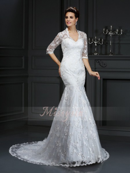 Trumpet/Mermaid V-neck Lace Court Train Lace 1/2 Sleeves Wedding Dress