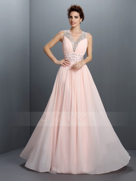 A-Line/Princess V-neck Chiffon Floor-Length Beading Sleeveless Dress