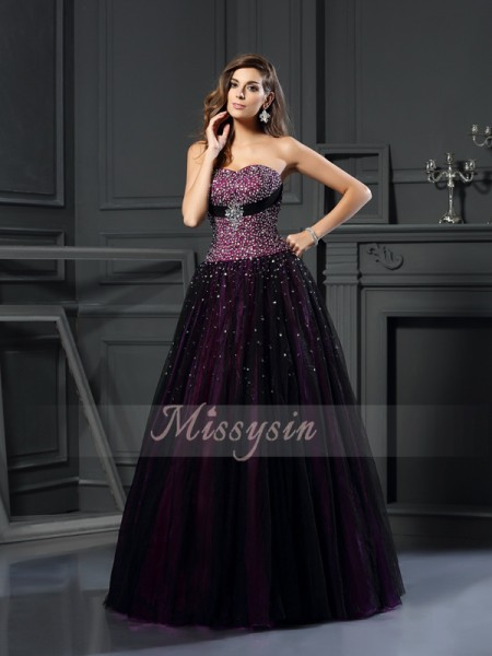 Ball Gown Sweetheart Satin Floor-Length Beading Sleeveless Dress