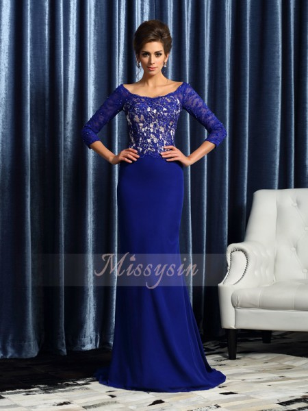 Sheath/Column Scoop Chiffon Sweep/Brush Train Lace 3/4 Sleeves Mother Of The Bride Dresses