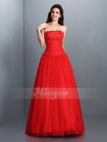 Ball Gown Strapless Organza Floor-Length Beading Sleeveless Dress