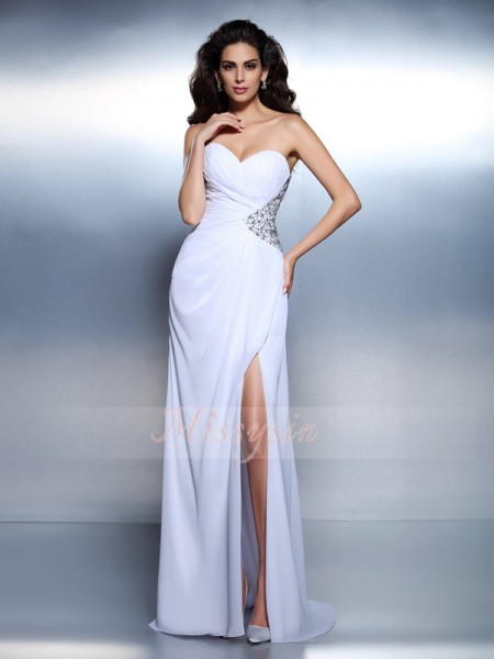 A-Line/Princess Sweetheart Chiffon Floor-Length Beading Sleeveless Dress