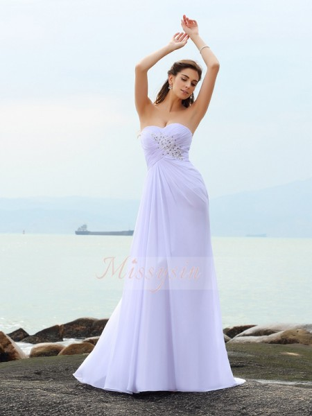 Sheath/Column Sweetheart Chiffon Chapel Train Beading Sleeveless Wedding Dress