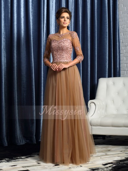 A-Line/Princess Scoop Elastic Woven Satin Floor-Length 3/4 Sleeves Mother Of The Bride Dresses