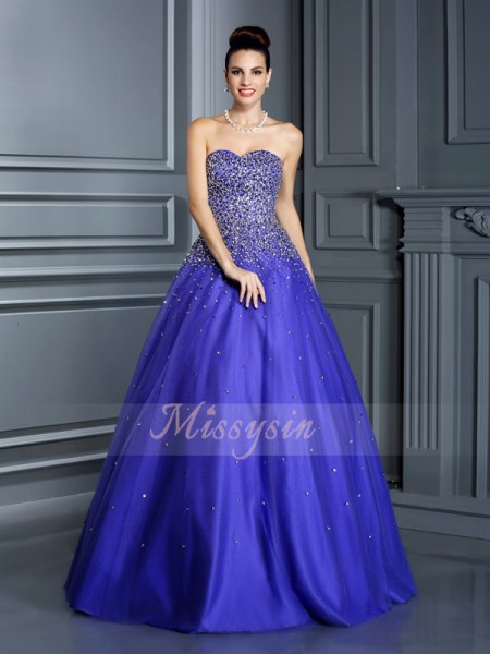 Ball Gown Sweetheart Net Floor-Length Beading Sleeveless Dress