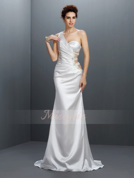 Trumpet/Mermaid One-Shoulder Elastic Woven Satin Sweep/Brush Train Beading Sleeveless Dress