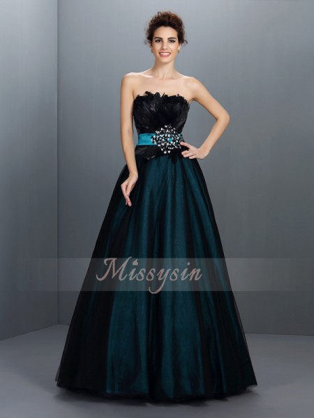 Ball Gown Strapless Elastic Woven Satin Floor-Length Feathers/Fur Sleeveless Dress
