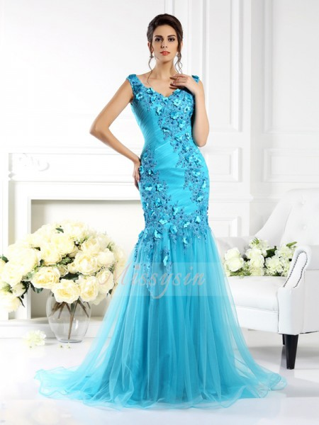 Trumpet/Mermaid Straps Silk like Satin Sweep/Brush Train Applique Sleeveless Dress