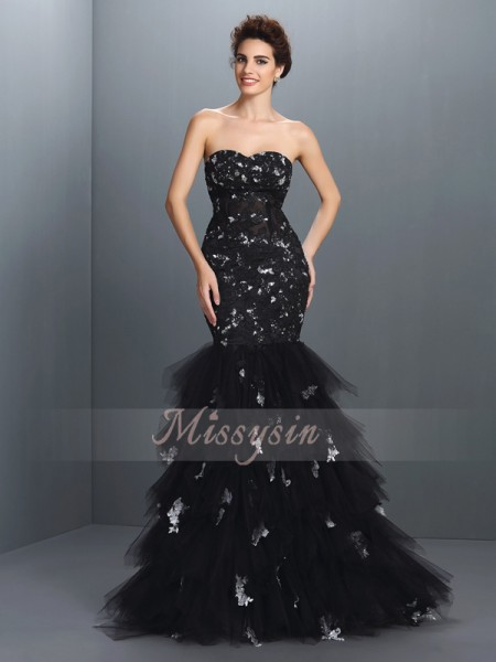 Trumpet/Mermaid Sweetheart Net Floor-Length Paillette Sleeveless Dress