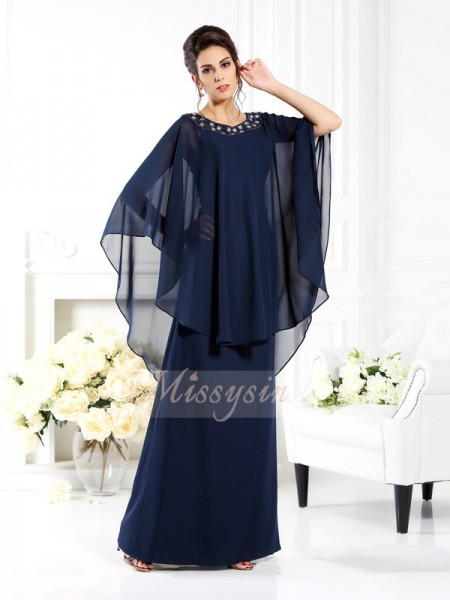 A-Line/Princess Scoop Chiffon Floor-Length 3/4 Sleeves Mother Of The Bride Dresses