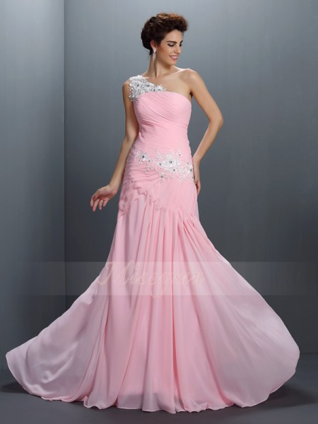A-Line/Princess One-Shoulder Chiffon Floor-Length Beading,Applique Sleeveless Dress