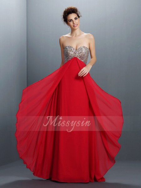 A-Line/Princess Sweetheart Chiffon Floor-Length Beading,Paillette Sleeveless Dress