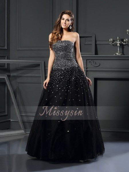 Ball Gown Strapless Satin Floor-Length Beading Sleeveless Dress
