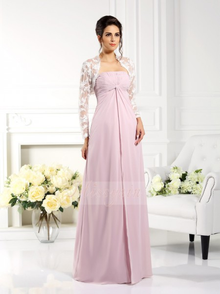 A-Line/Princess Strapless Chiffon Floor-Length Lace Sleeveless Mother Of The Bride Dresses