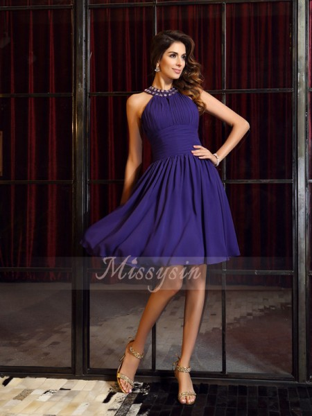 A-Line/Princess High Neck Chiffon Knee-Length Pleats Sleeveless Bridesmaid Dress