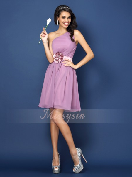 A-Line/Princess One-Shoulder Chiffon Short/Mini Hand-Made Flower Sleeveless Bridesmaid Dress