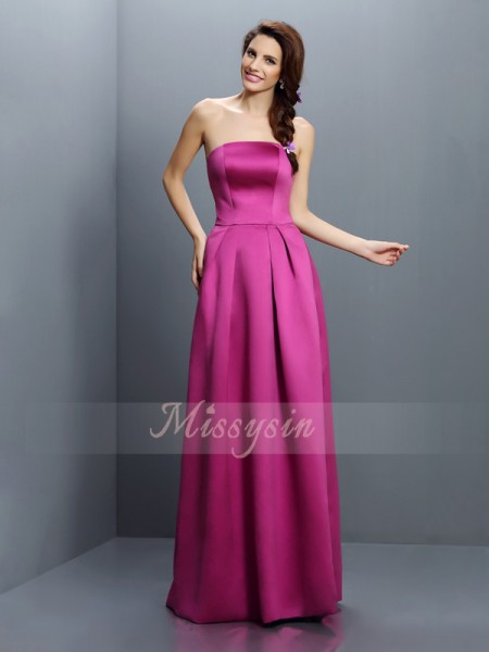 Sheath/Column Strapless Satin Floor-Length Sleeveless Bridesmaid Dress