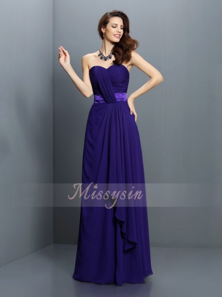 A-Line/Princess Sweetheart Chiffon Floor-Length Pleats Sleeveless Bridesmaid Dress