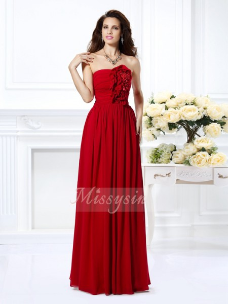 A-Line/Princess Strapless Chiffon Floor-Length Hand-Made Flower Sleeveless Bridesmaid Dress