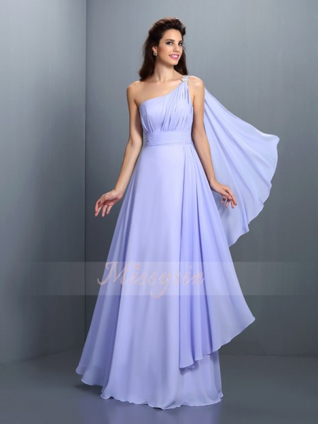 A-Line/Princess One-Shoulder Chiffon Floor-Length Pleats Sleeveless Bridesmaid Dress