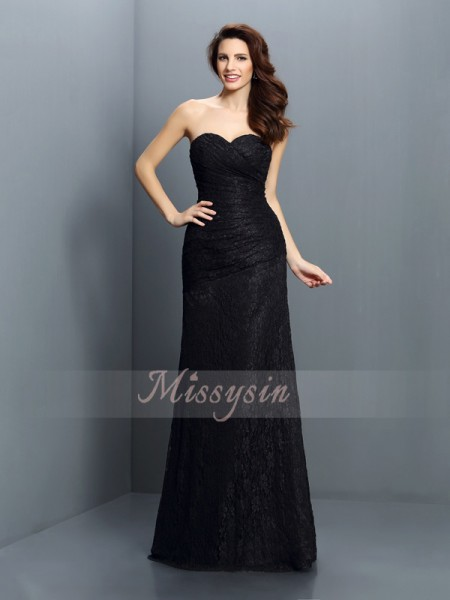 A-Line/Princess Sweetheart Satin Floor-Length Lace Sleeveless Bridesmaid Dress